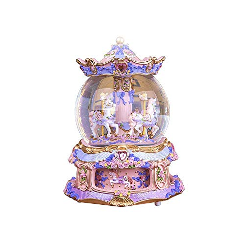 YOUDirect Rotate Music Box Carousel Crystal Ball Snow Globe with Castle in The Sky Tune and Light Up Color Changing Perfect for Birthday Gift Valentine's Day - Carousel Snow
