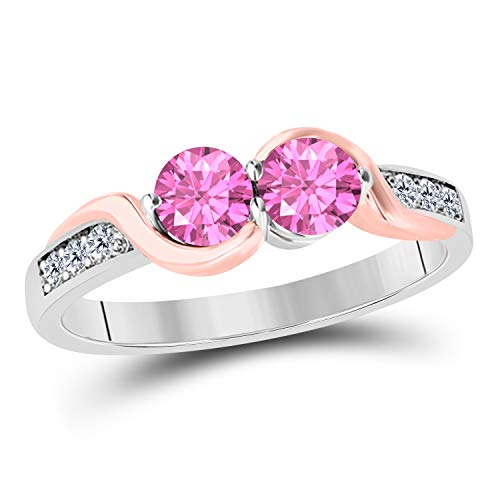 DreamJewels 1.50 Carat Forever Us Created Pink Sapphire 14K Two Tone Gold Plated Prong Set Two Stone Engagement Ring Sterling Silver Base (Pink) - Pink Sapphire Two Tone Ring