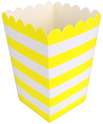 (Just Artifacts Popcorn Boxes (12pcs) - Rugby Stripe Pattern - Color: Lemon Yellow - Decorative dinnerware for Birthday Parties, Baby Showers, Graduations and More! )