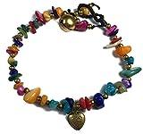 Thai Multicolored Stones And Brass Bracelet,Free 1 Thai Purse. (19 cm., multicolored)