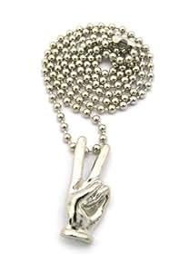 Muestra de la mano de la Paz Victoria V colgante Micro w/cm 68,6 - Cadena de bolas de plata del tono MMP37R
