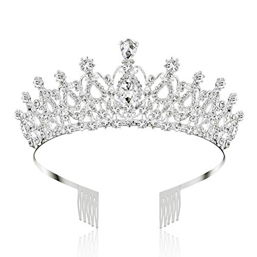 Makone Crystal Crowns and Tiaras with Comb for Girl or Women Birthday Party Wedding Tiaras (Style-5)