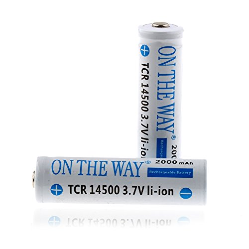 ON THE WAY 2Pcs Li-Ion 14500 3.7V AA Rechargeable Battery for Led Torch