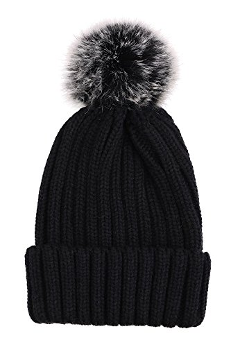 f74f611ac8e Arctic Paw Womens Super Soft Warm Chunky Cable Faux Fur Pompom Knit Beanie  Hat
