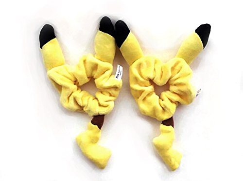 Pikachu Hoodie With Ears (Finex® *Set of 2* Pokemon Yellow Male Pikachu 3D Ear & Tail Plush Ponytail Holder Bracelet Hair Accessories)