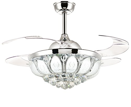 Moooni Dimmable LED Retractable Ceiling Fans with Lights and Remote Crystal Chandelier Fan Light -Polished Chrome 36'