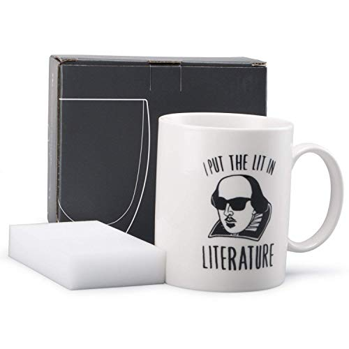 Neolith Cute Coffee Mugs with Quotes I Put The Lit in Literature 12 Oz Ceramic Fun Coffee Mug Shakespeare Cup Gifts for Literature Majors & English Teachers (English Gift)