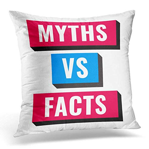 GG-go Throw Pillow Cover Deceit Versus Myths Vs Facts on White Character Deception Decorative Pillow Case Home Decor Square 18