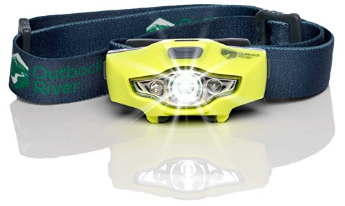 BrightSpark Compact LED Headlamp, Water Resistant, Powerful for its Size, Single AA, Slips Easily Into Your Pocket. Best for Hiking, Running, Camping, Fishing, Hunting, Kids, Reading. by Outback River