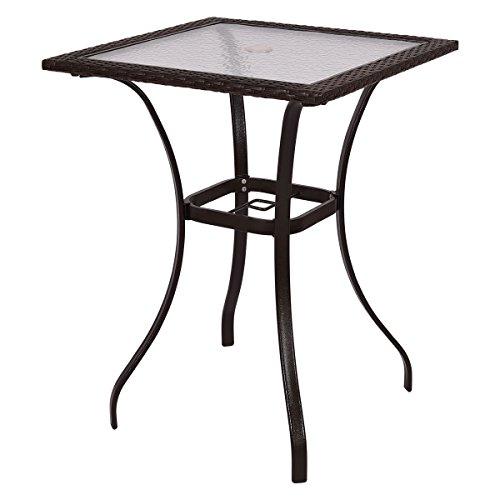Shining Patio Rattan Wicker Bar Square Table Glass Top Yard Garden Furniture Outdoor ()