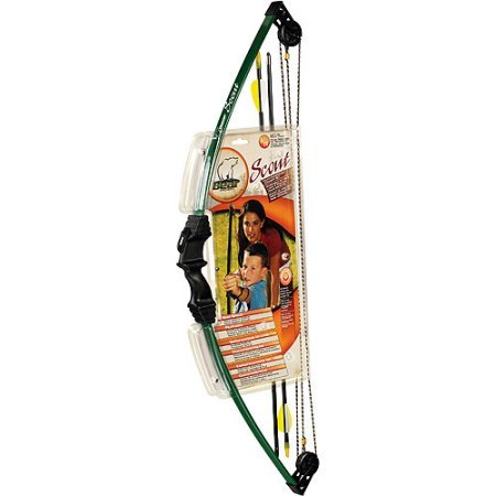 Bear Archery Scout Youth Archery Set | 2 Safety Glass Arrows | Ideal for Kids and Teenagers (Green)
