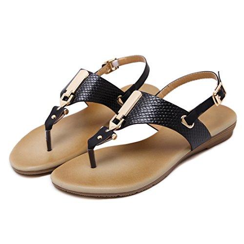 AIYOUMEI Damen Knöchelriemchen T-spangen Sommer Flach Sandalen Böhmen Flip Flops Strand Hausschuhe vRUXFXauow