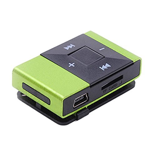 Perman Mini Portable USB 2.0 Clip Digital MP3 Music Player Rechargeable Support 8GB SD TF Card Green