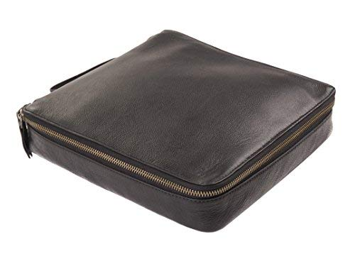 Dwellbee Travel Electronic Accessories and Cable Organizer, Large (Buffalo Leather, Black) by Dwellbee (Image #1)