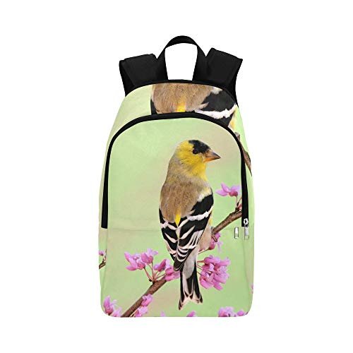 (American Goldfinch Carduelis Tristis On Spring Stock Photo Casual Daypack Travel Bag College School Backpack for Mens and Women)