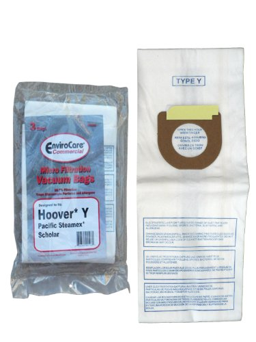 3 Hoover Commercial Allergy Type Y Bags, WindTunnel Upright Vacuum Cleaners, 43655109, 4010100Y, 4010801Y, AH10060DT,AH10040CLP,902419001 -