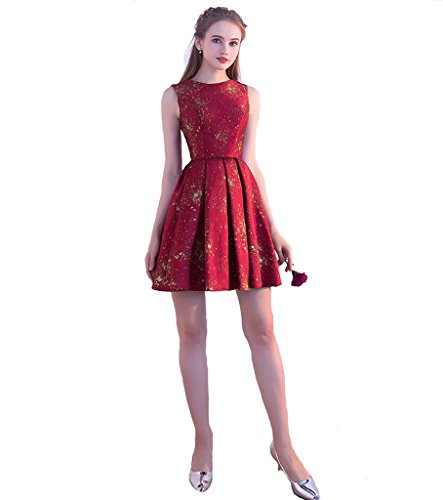 Women's Mini Satin Burgundy Dresses A Dearta Party Homecoming Short Line Scoop Gowns OdwSqI