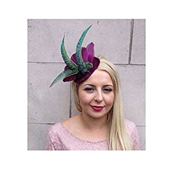 Dark Green Aubergine Purple Tartan Peacock Feather Pillbox Hat Fascinator 4309