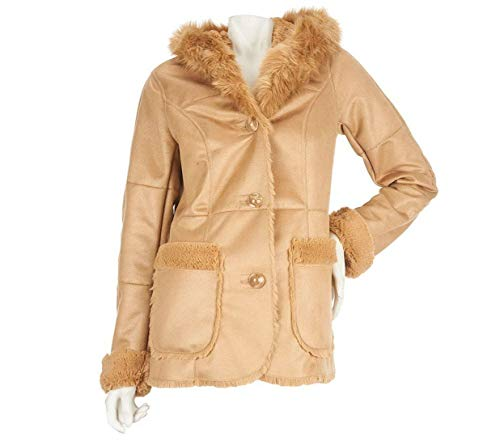 Basso Suede Faux Dennis (Dennis Basso Distressed Faux Shearling Coat w/Hood and Fur Lining (XL))
