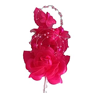 """3 Hot Pink Silk Flowers Pearl & Organza Corsages 5""""x 2.5"""" with a Straight Pin 14"""