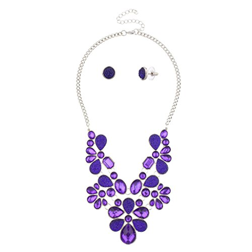 Lux Accessories Floral Flower Purple Stone Statement Necklace Matching Earrings.