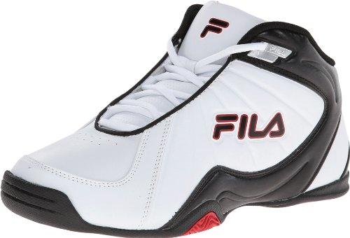 Fila Men's Leave It On The Court 2 Basketball Shoe, White/Black/Fila Red, 12 M US
