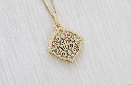 With You Lockets Yellow Gold-Diamond-Square-Custom Photo Locket Necklace-22-inch chain-The Mimi by by With You Lockets (Image #5)