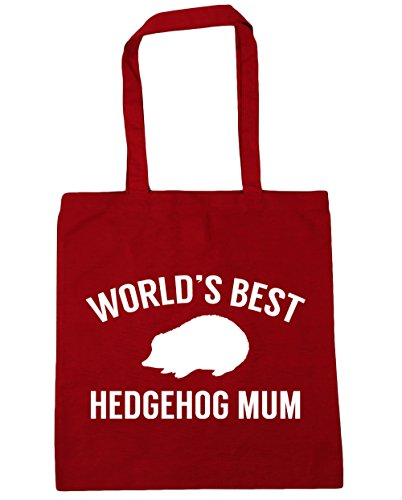 HippoWarehouse mum Tote Red best Beach x38cm Bag Classic 10 hedgehog Shopping litres Gym 42cm World's prCwqtxr