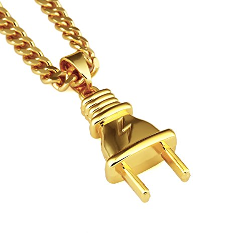 Man Of Steel Costume Reaction (NYUK New Arrival Mens Gold Jewelry Plug Pendant Original 18k Hip Hop Necklace-Small size)