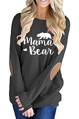 Aking Ace Womens Mama Bear Printing Long Sleeve Tunic Crewneck Elbow Patch Sweatshirt Tops