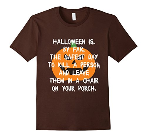 Men's Body In A Chair On Your Porch-Funny Halloween Shocker Shirt XL Brown (Gruesome Halloween Ideas)