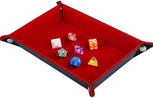 Juego de Dados, Bandeja para Juego de Dados, Dice Rolling Tray - Rack de Dados de Terciopelo Plegable de Doble Cara Rectangular Dice Rack para RPG, MDN, ajedrez, Mesa y Juegos: Amazon.es: