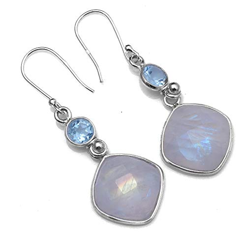 Silver Palace Sterling Silver Natural Rainbow Moonstone,Blue Topaz Earrings for Womens and -