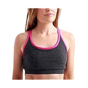 Swoob Women's Piranha Cross-Strap Pocket Sports Bra Medium CharcoalFuchsia