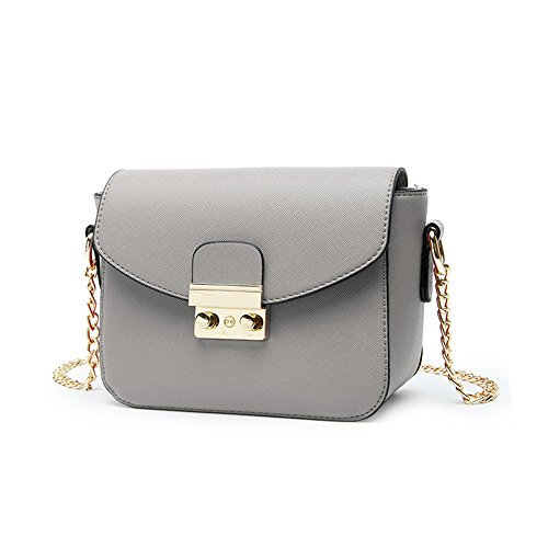 Gray Wild Package Korean Shoulder Oblique Color Handbags Summer Package Bags Backpack Chain Gray Female Mini qw46t