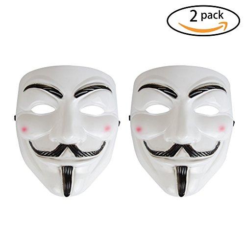 Vendetta Halloween (Halloween V for Vendetta Masks,white color full face masks for party,halloween.-2Pack)