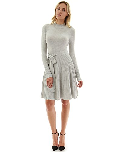 - PattyBoutik Women Mock Neck Fit-and-Flare Knit Sweater Dress (Light Gray Small)