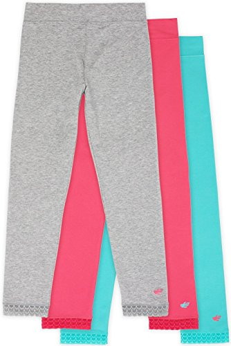 Lucky & Me Jada Athletic Leggings For Girls, 3 Pack, Tagless, Lace Trim, Full Length, Grey/Strawberry/Teal, 7/8
