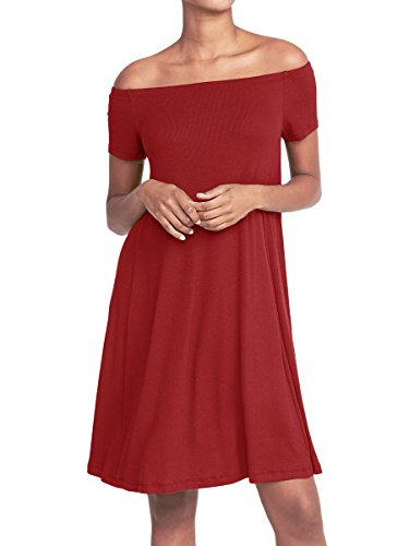 MISFONDLE Women's Sexy Casual Summer Off Shoulder Short Sleeve Loose Swing Day Dress Tunic Wine Red
