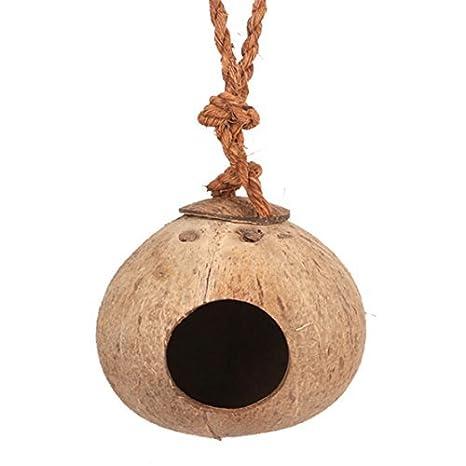 unke Coco Shell nido de pájaro casa caseta para mascotas loro Canarias servilletas de paloma jaula Hamster rata, ratón jaula Seed Feeder Juguete Caja de ...