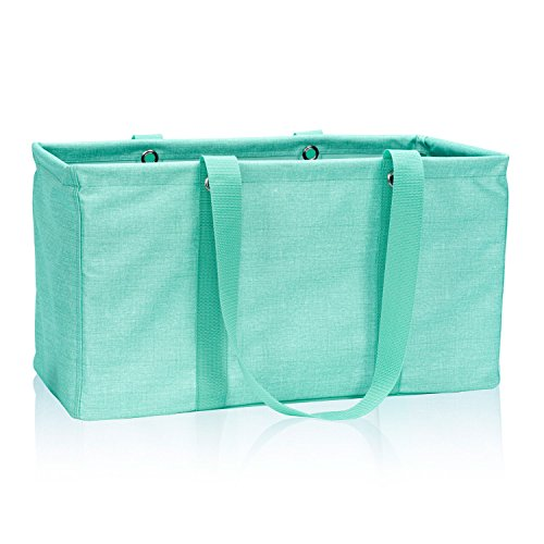 Thirty One Large Utility Tote in Turquoise Crosshatch - No Monogram - 3121
