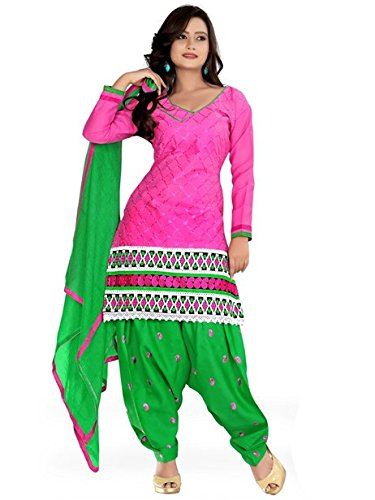 Vibes Women's Cotton Salwar Suit Dress Material – Free Size, Pink