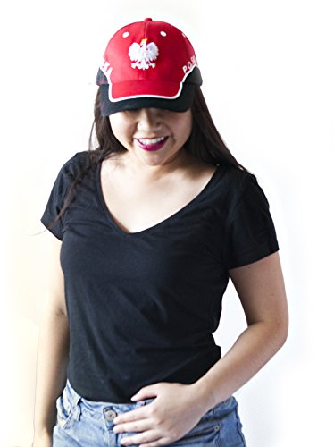 Hit Delights Poland Cap. Cheer on POLSKA in the Soccer World Cup 2018! Baseball Cap One Size Fits ALL (Red and Black)