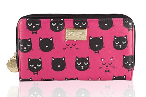 Luv Betsey Johnson Lbbrit Kitsch Kitty Cat Zip Around Continental Wallet - Black/Fuschia - Evening Johnson Betsey