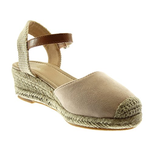 Talon Lanière 5 Bi Plateforme Cm Beige Mule Cheville Chaussure matière Mode Bloc Angkorly Femme Tréssé Sandale 5 Corde xZq7XHc