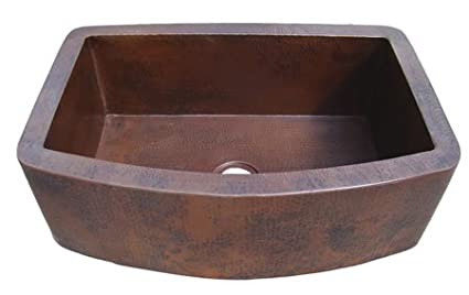 Incredible Ariellina Farmhouse 14 Gauge Hammered Copper Kitchen Sink Interior Design Ideas Inesswwsoteloinfo