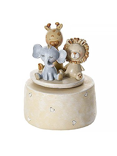 Mousehouse Gifts Lion Elephant and Giraffe Safari Animal Music Box Kids or Baby Boy Girl Unisex Christening Present