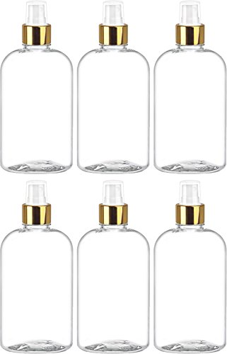 Fine Mist Spray Bottle, Refillable - Reusable Empty Clear Short Round 8 Oz. Bottles (Pack of 6) by Bar5F