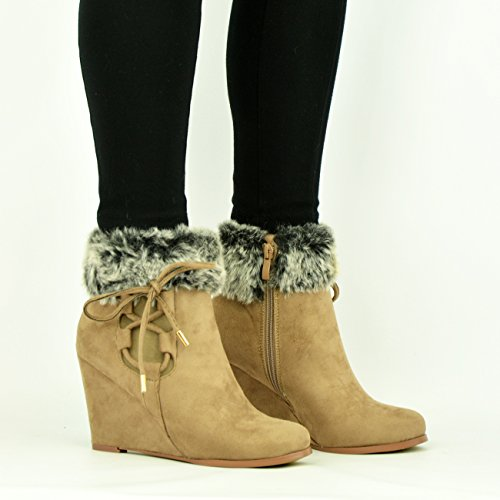 ZIP LINED MID WOMENS LADIES ANKLE NEW Suede UK SHOES Khaki SIZE LACE BOOTS WEDGE FUR HEEL qxEXxd8wR
