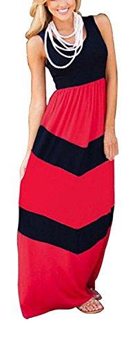 Youndcc Womens Zig Zag Scoop Neck Wave Striped Tank Maxi Long Dress (Large, (Scoop Neck Jersey Knit Dress)